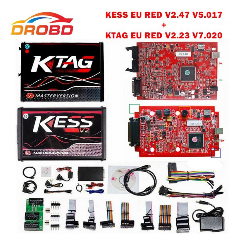 KESS V2 V2.47 V5.017 KTAG V2.25 V7.020 4 LED ue rouge ECM outil de Diagnostic en ligne Version maître ECU programmeur outil pour voiture/camion