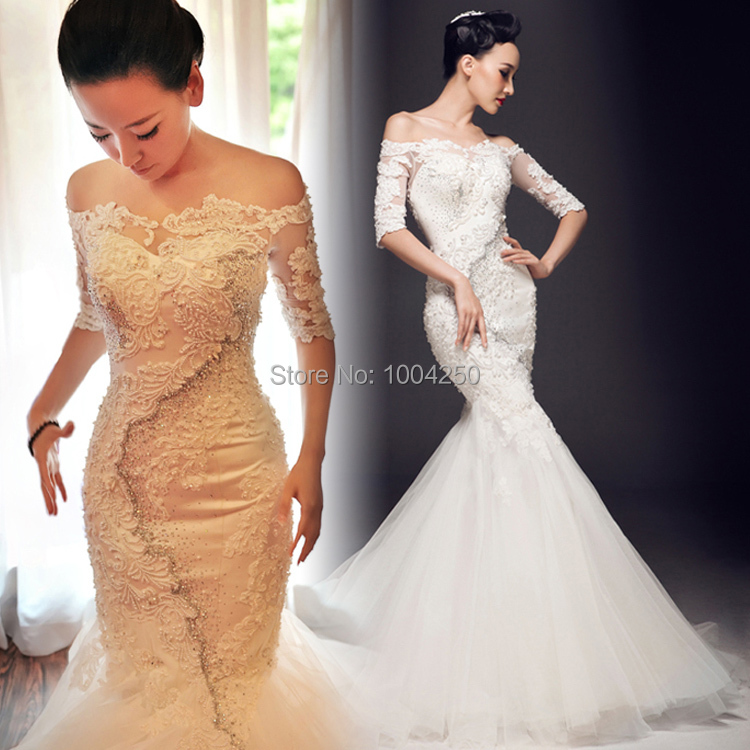 2015 New Arrival Hot Half Sleeve Slim Lace Fish Tail Winter ...