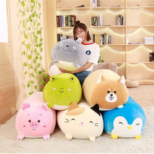 2019 New Soft Animal Cartoon Pillow Cushion Chubby Cute Dog Cat Totoro Frog Penguin Pig Plush Toys Stuffed Lovely Kids Gift