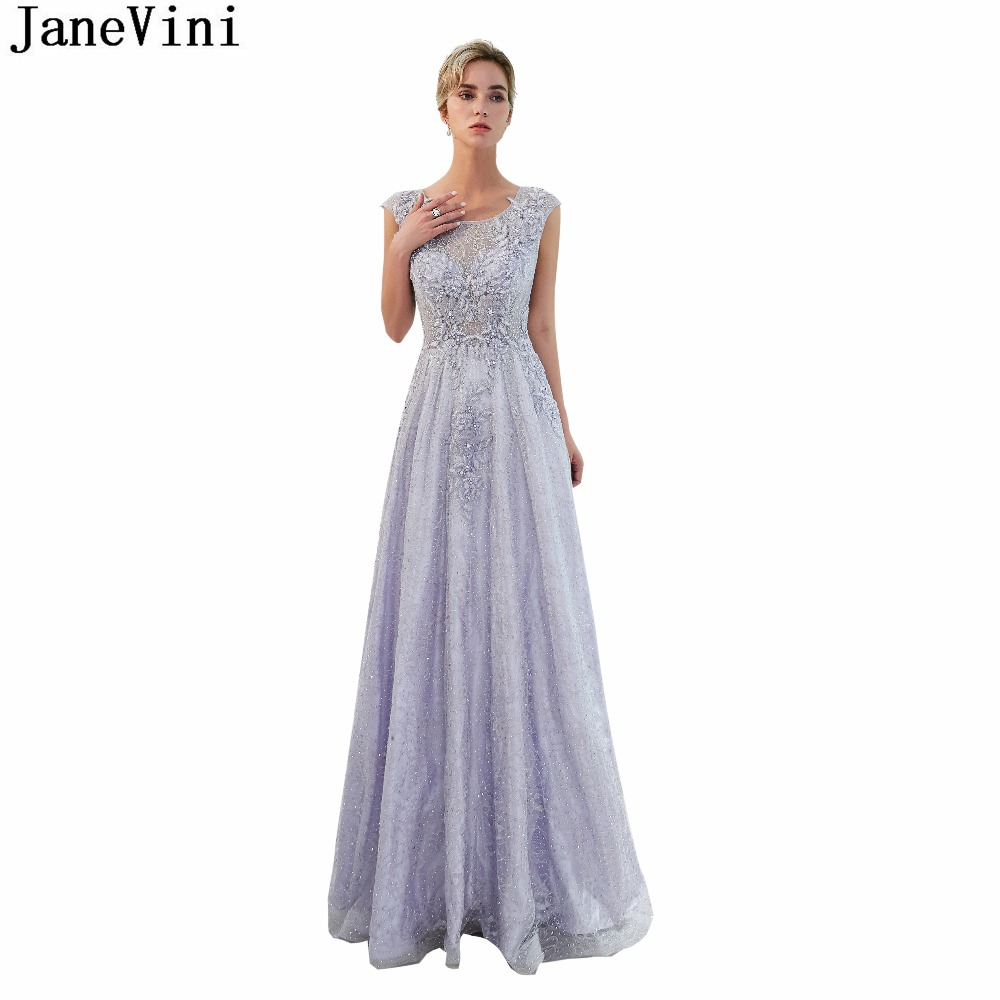 JaneVini 2018 Vintage Lace Long   Bridesmaid     Dresses   with Applique Scoop Neck Luxury Beaded Illusion Back Arabic Formal Prom Gowns