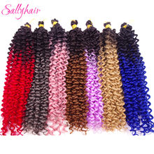 Sallyhair Water Wave Ombre Color Crochet Braiding Hair Extension High Temperature Synthetic Braids Pink Purple Grey Bue Colored(China)