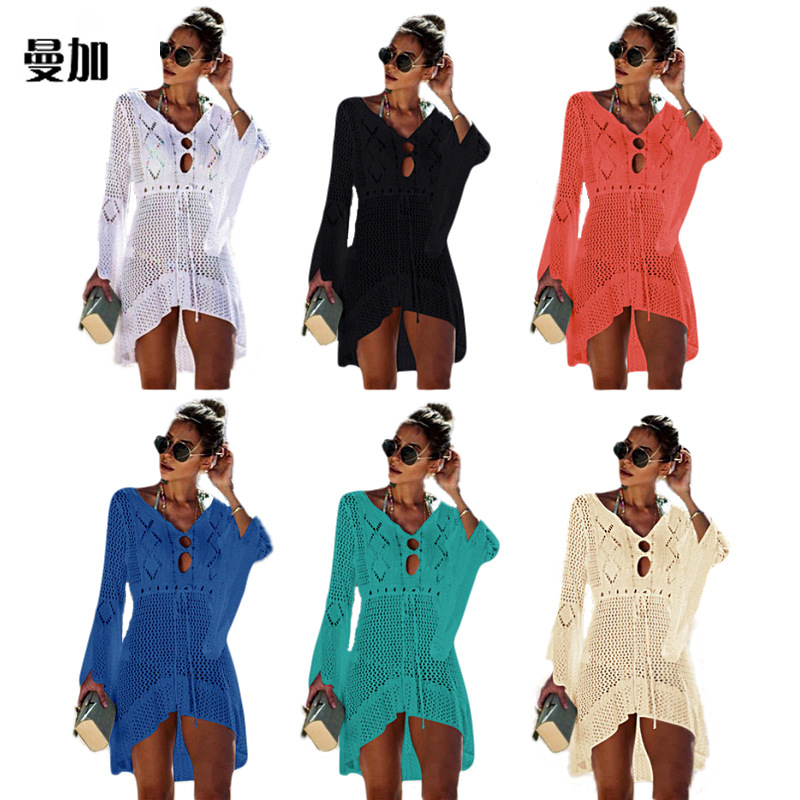 Prowow Women Sexy Bikini Beach Cover-up Swimsuit Covers Up Bathing Suit Summer Beach Wear  Swimwear Mesh Beach Dress Tunic Robe