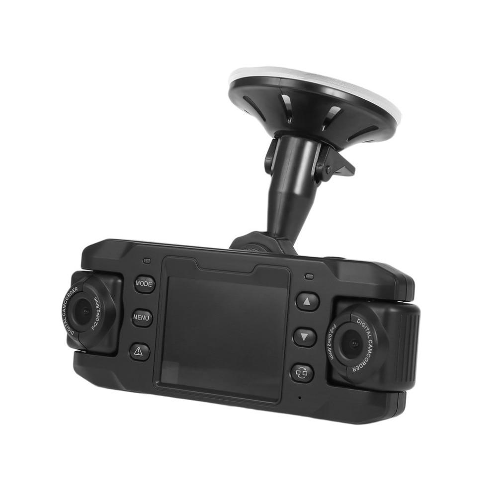New Dual Lens Car Camera Twins Cam DVRs Vehicle DVR Dash Cam Loop Recorder GPS Tracker 2.3 inch HD Camcorder with G-sensor