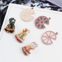 Free Shipping 30PCS Lot Enamel Alloy Charms Gold Tone Kawaii Metal Cake Food Hat Pendant Charms