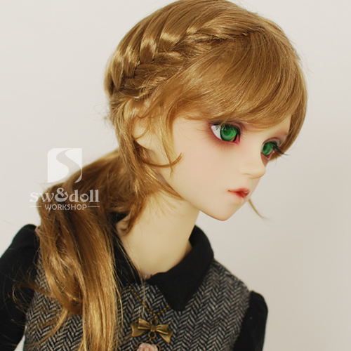 1/3 BJD wigs braided hair ponytail multi-color faux mohair SD doll wig in stock 24inch multi color body wavy lace wigs