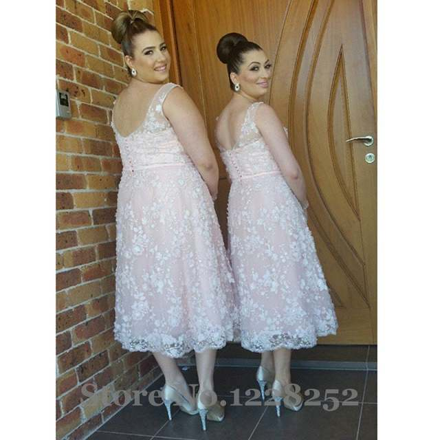 Romantic Lace Bridesmaid Dress Sheer V Neck Tea Length Wedding Party Dress  Backless Lace Plus Size Bridesmaid Dresses