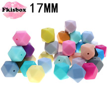 Fkisbox 100PCS Silicone Teething Beads Hexagon 17mm Bpa Free Chew Silicone Beads  Loose Bead Charms For Diy Teething Necklace