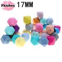 Fkisbox Cuentas de dentición de silicona hexagonales de 17mm, sin Bpa, cuentas de silicona para masticar, abalorios sueltos para collar de dentición Diy, 100 Uds.