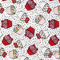 140X100cm White Background Sweet Cupcake Cotton Fabric For Baby Girl Dress Sewing Hometextile Patchwork DIY AFCK170