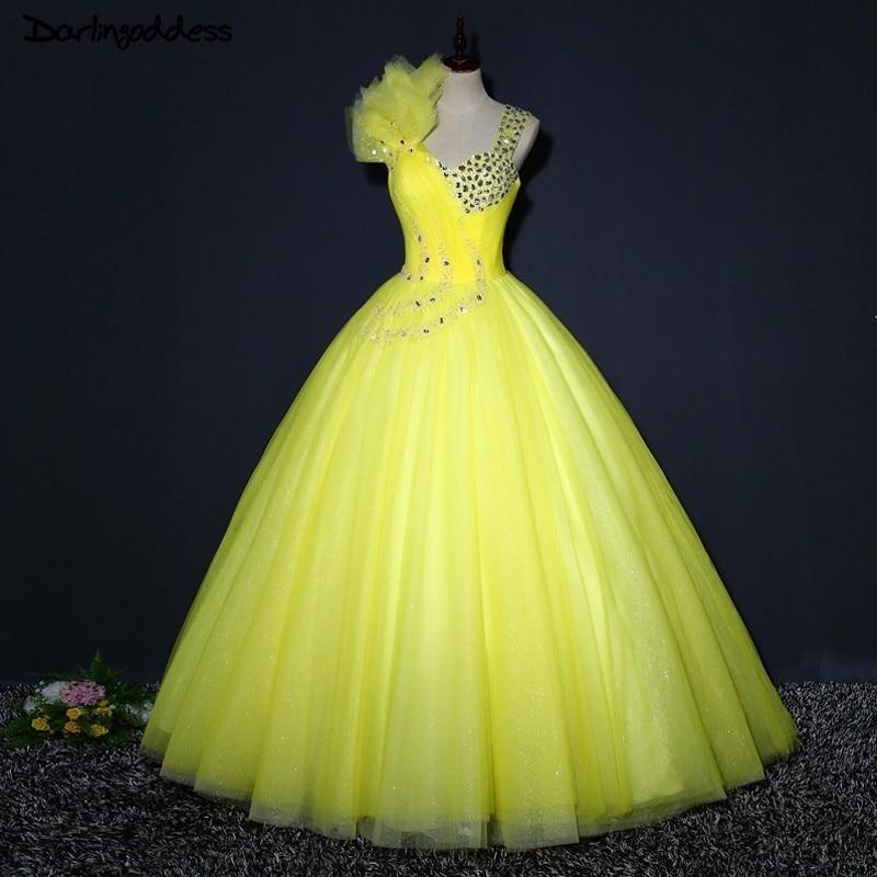 01732b3f60 Darlingoddess Vestidos De Novia Ball Gown Wedding Dress Beading Lace Up  Yellow Birdal Dresses 2018 Robe de mariage Real Pictures