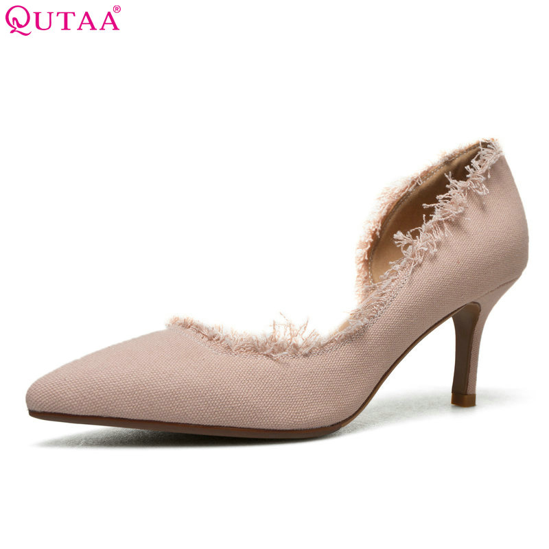 QUTAA 2018 Women Pumps hemp fashion pointed toe women shoes platform slip on thin high heel all match Ladies Pumps Size 34-39 fashion women ladies pumps solid color spring summer pointed toe thin heel shoes new arrival high quality brand slip on pumps