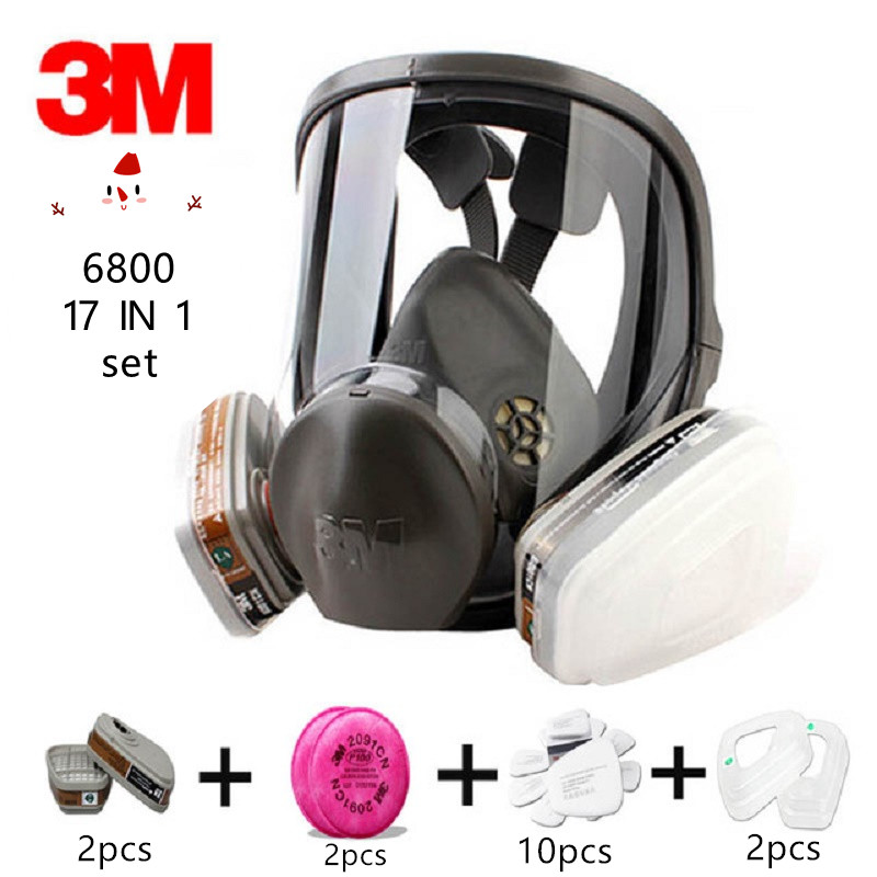 Image 2 - 15/17 In 1 3M 6800 Gas Mask Full Face Respirator Air Filters Welding Spraying Chemical Laboratory Safety Worker Mask-in Chemical Respirators from Security & Protection