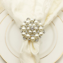 12PCS metal alloy napkin ring rose pearl buckle table jewelry household items