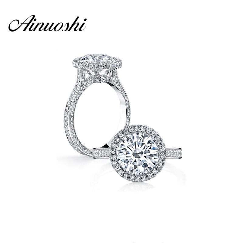3 Carat Halo Ring vysoký nastavení kulatý střih SONA zásnubní prsten 925 Sterling Silver Women Promise Ring