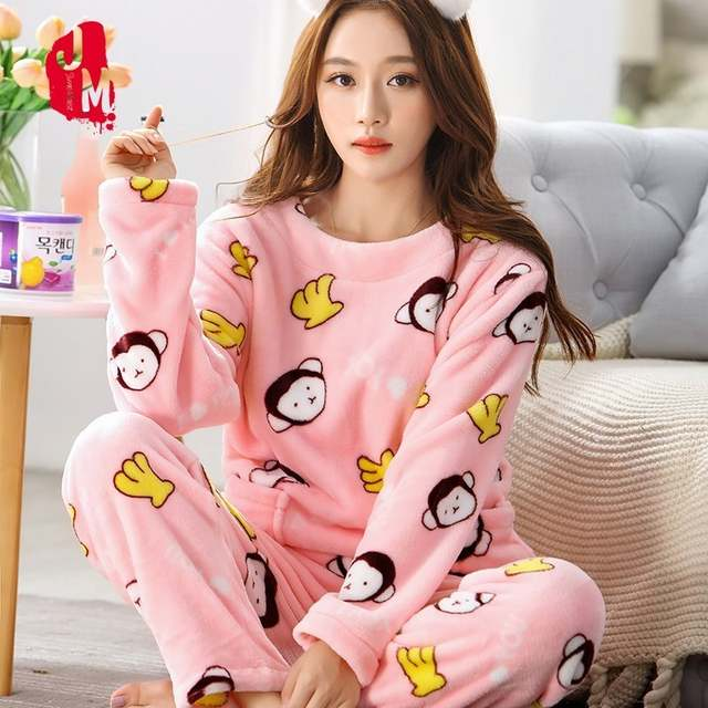 12e9ed515 Detail Feedback Questions about Winter Women Pajama Sets Coral Fleece  Nighty Sleepwear Cute Cartoon Animal Flannel Warm Pajamas Sleepwear Pyjama  Female XXL ...