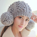 Cute Women Winter Warm Beanie with Big Poms 100% Handmade Knit Hat Caps Gift