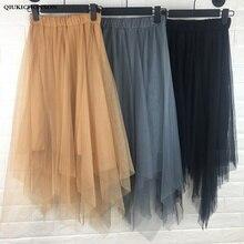 Fairy High Waist Tulle Skirt Women Elastic Long Asymmetrical Midi Skirts Ladies jupe tulle femme