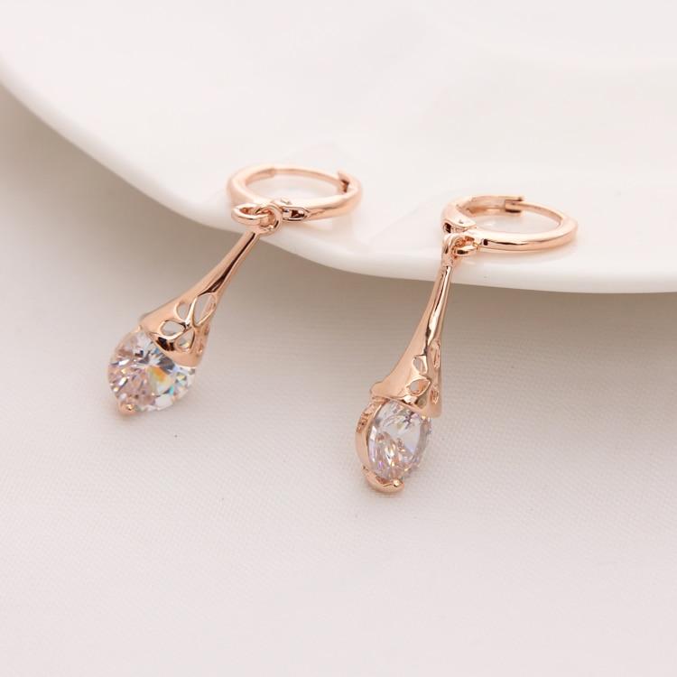 Hesiod Österreichischen Kristall Ohrringe Für Frauen Gold Farbe Strass Braut Hochzeit Ohrring Großhandel Ohrringe Modeschmuck