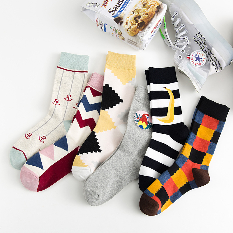 Colour crew cotton happy   socks   men/women british style casual harajuku designer brand novelty art for couple funny sokken dress