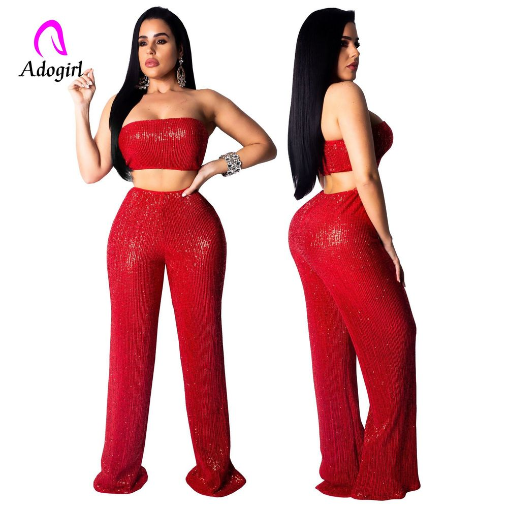 Rose Gold 2 Piece Set Women Sexy Club Party Sequin Set Beading Off Shoulder Crop Top And Wide Leg Pant Fashion 2pcs Outfit Set