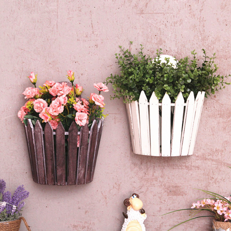 American country fence wall mural wood storage basket process Home Furnishing soft decoration courtyard balcony