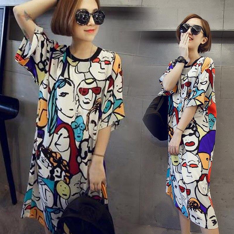 2019 Hot Sale Summer New T-Shirts Women One-pieces Pajama Printed O-neck Short Sleeve Loose Sleep Dress For Summer KA-BEST