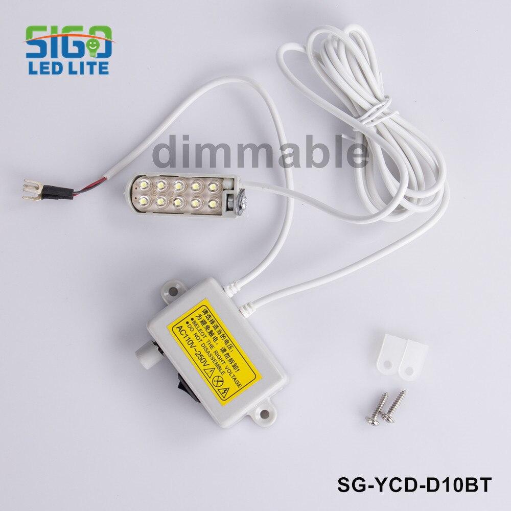 จัดส่งฟรี D10BT-1W Dimmable จักรเย็บผ้าอุตสาหกรรมไฟ LED เสื้อผ้าทำงาน CFL โคมไฟโคมไฟจักรเย็บผ้าไฟ