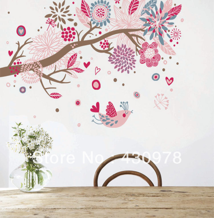 QZ417 Free Shipping 1Pcs Abstract Art <font><b>Bohemian</b></font> Heart Love Flower Tree Singing Bird Removable PVC Wall Stickers <font><b>Home</b></font> <font><b>Decoration</b></font>