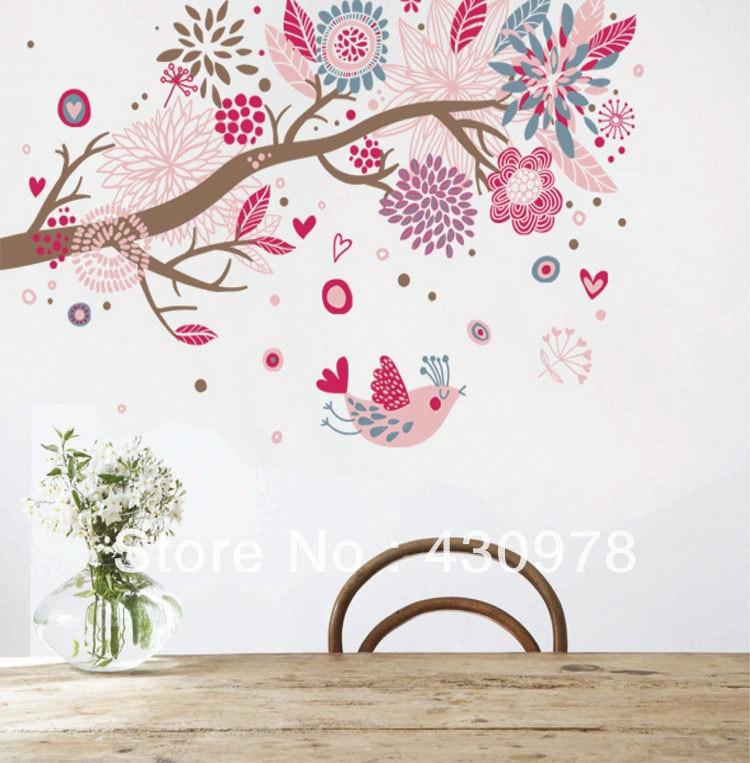 QZ417 Free Shipping 1Pcs Abstract Art <font><b>Bohemian</b></font> Heart Love Flower Tree Singing Bird Removable PVC Wall Stickers <font><b>Home</b></font> <font><b>Decoration</b></font>