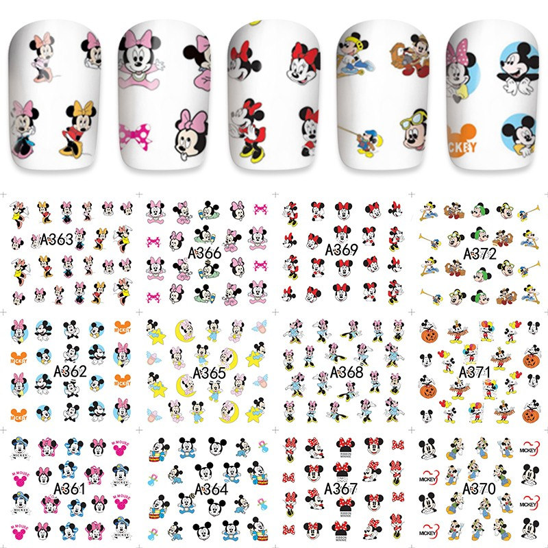 12 sheets water decal nail art decorations nail sticker tattoo full Cover beauty Mickey design Decals manicure supplies A361-372 24pcs lot 3d nail stickers decal beauty summer styles design nail art charms manicure bronzing vintage decals decorations tools