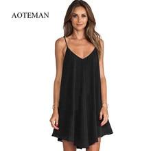 502b7783f9 AOTEMAN letnia sukienka na co dzień kobiety nowy Sexy stałe Spaghetti  sukienka na ramiączkach kobiet elegancka