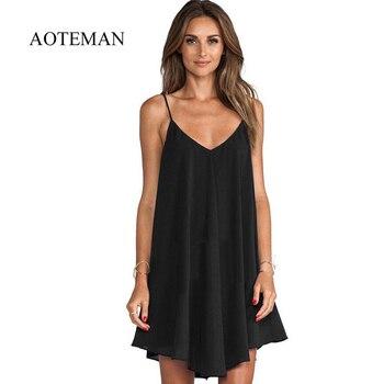 ae74d494b AOTEMAN vestido Casual de verano de las nuevas mujeres Sexy de espaguetis  Correa vestido de mujer