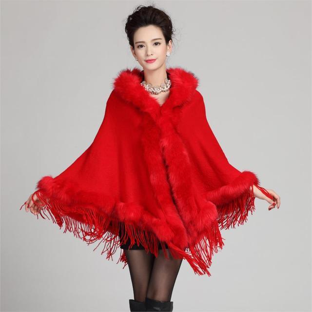 Womens Leather Fox Fur Collar Hooded Tassels Fringed Poncho Cape Bridal Wedding Dress Shawl Wool