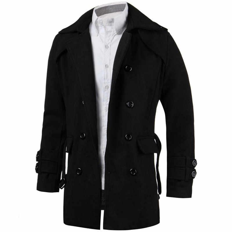Модные зимние мужские куртки, черный серый плащ из искусственной шерсти, мужской кардиган, деловая одежда, приталенное длинное пальто с поясом, мужская верхняя одежда