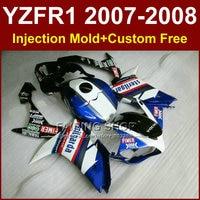 FIMER black blue white fairing set for YAMAHA YZFR1 2007 2008 fairings kits R1 YZF R1 YZF1000 YZF 1000 07 08 +7Gifts ET5D