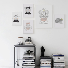 Animals Cartoon Cute Kitten Rabbit Mouse Bear A4 Canvas Painting Art Print Poster Picture Wall Paintings Girl Bedroom Wall Decor joinrun v07 smart wristband pedometer smart bracelet heart rate monitor smartband bluetooth fitness for android and ios