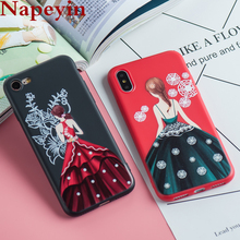Napeyin Beauty Girls Back Case for iphone 6 6s 7 8 Plus X 10 Soft Silicone Matte Princess Wedding Dress Cases Cover for iphone X