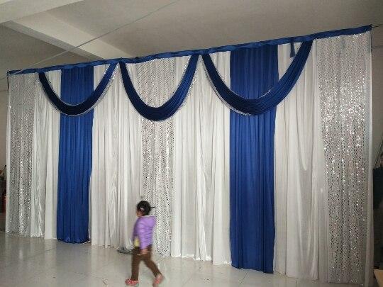 Royal Swag mariage toile de fond rideau avec Swag scène de mariage décors 20ft (w) x 10ft (h) pour fête mariage décoration gratuit UPS