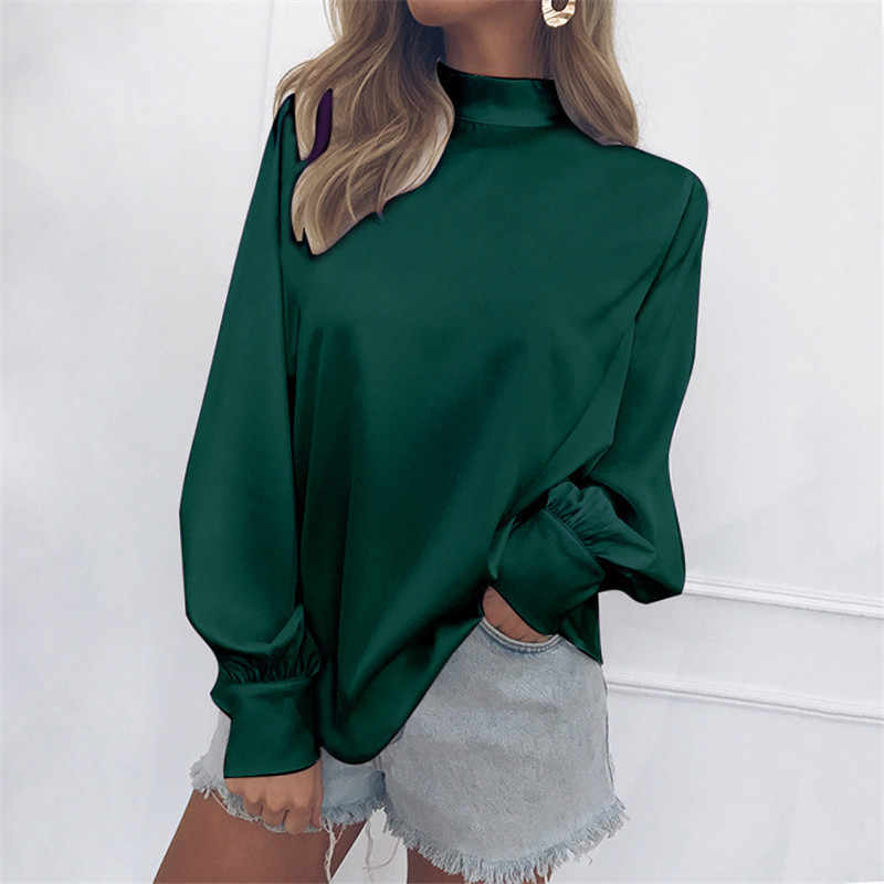 2019 New Spring Autumn Hot Europe Pullovers Women Long Lantern Sleeve Turtleneck Female Silk Blouse and Shirt Casual Tops