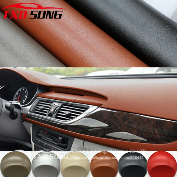Premium Leather Pattern PVC Adhesive Vinyl Film Stickers For Auto Car Body Internal Decoration Vinyl Wrap Car Leather Film(China)