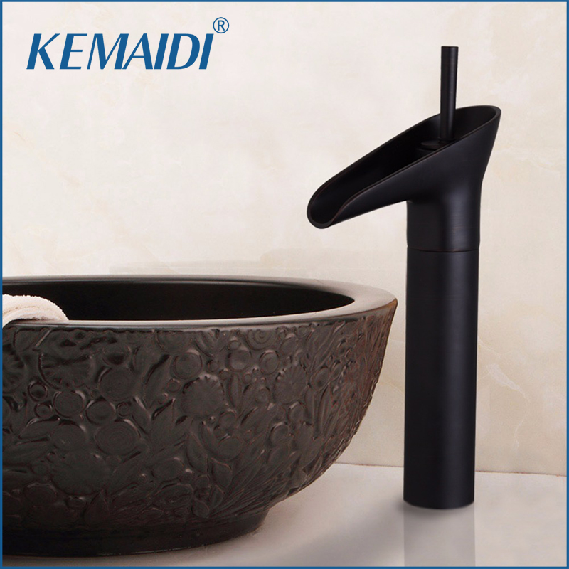 KEMAIDI Oil Rubbed Bronze Bathroom Sink Faucet Waterfall Lavatory One Hole Tap Deck Mounted Singel Handle Sink Faucets,Mixer for mitsubishi lancer 2008 2015 non projector excellent multi color ultrabright 7 colors rgb led angel eyes halo rings led light