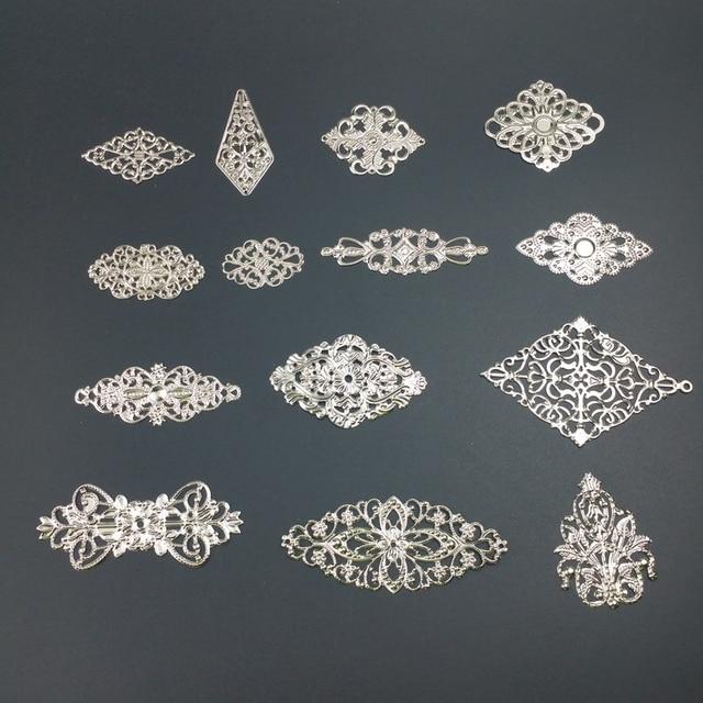 lozenge Metal Filigree Flowers Slice Charms base Setting Jewelry DIY Components Findings