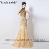 New Shinning Gold Sequined High Neck Formal Evening Dresses 2017 Luxury Backless Mermaid Long Prom Dresses Robe De Soiree JS002