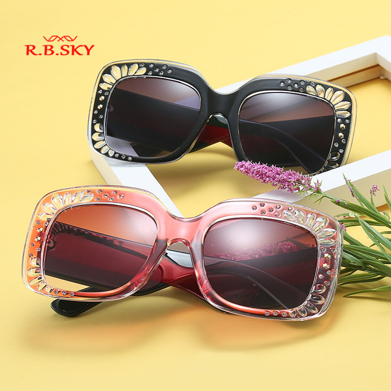 daa9155a03 Oversize Square Frame Rhinestone Sunglasses 2018 trending women s fashion  eyewear Italy brand designer sun glasses female shades-in Sunglasses from  Apparel ...