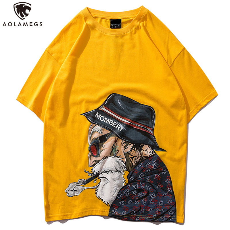 Aolamegs T Shirt Men Fashion Old Man Printed Men's Tee Shirts Short Sleeve T Shirt Casual High Street Tees Summer Streetwear