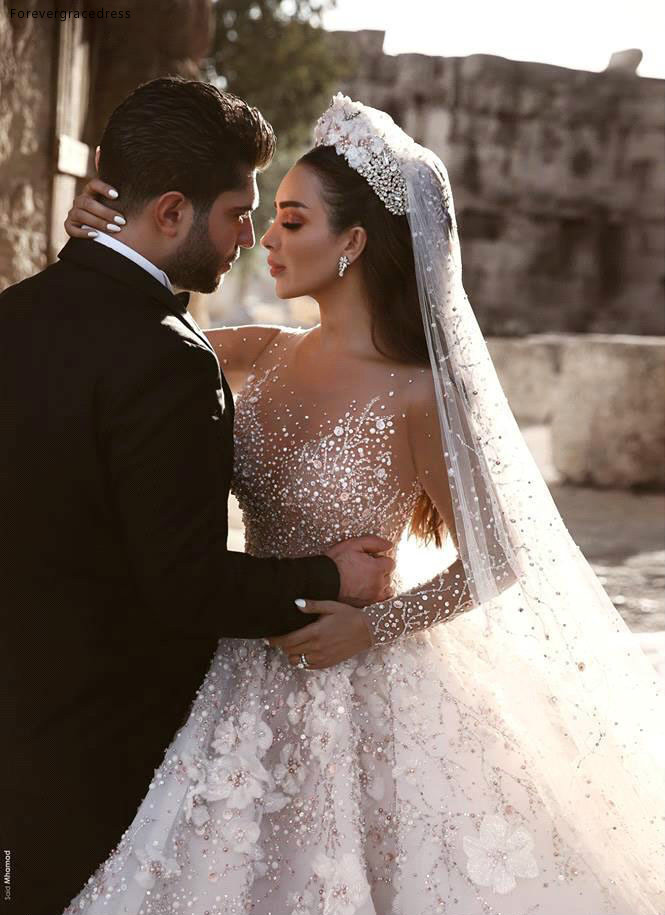 Glamorous Luxury Dubai Arabic New Fashion Lace Ball Gowns Wedding Dresses Long Sleeves 3D Flowers Beading Wedding Dress Bridal Gowns BC0151 591 (6)