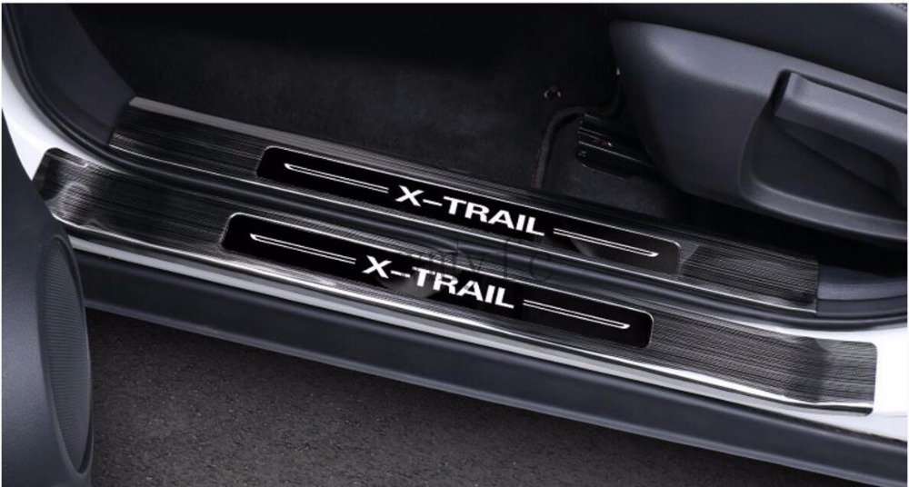 Stainless steel Door Sill Scuff Plate Guards Door Sills Protector Car For Nissan X Trail X