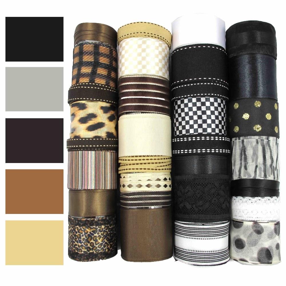 black and brown ribbon set grosgrain