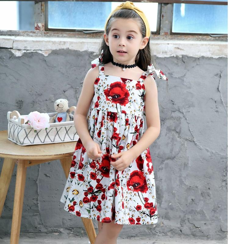 c581dc052b3d7 Floral coton bébé fille robes été 2018 Bowknot Straped princesse fille robe  mode enfants vêtements pour 2 ~ 10 ans dans Robes de Mère et Enfants sur ...