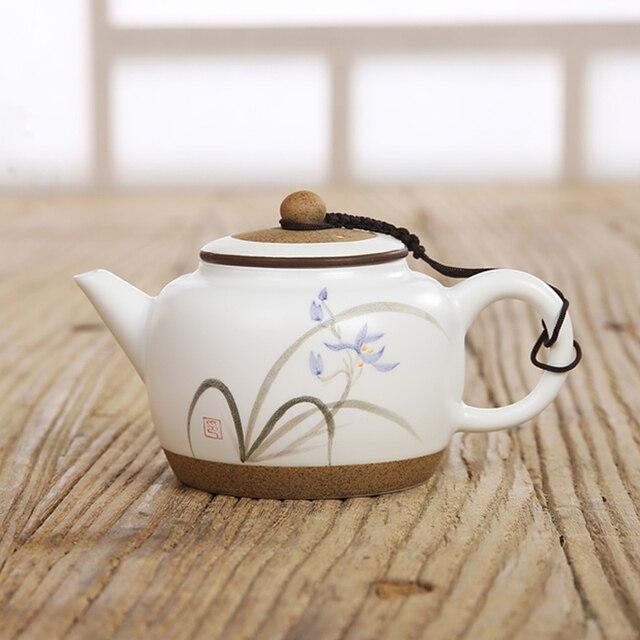 Китайские колокольчики, лотосы ручной росписи корня/орхидея керамические чайники Китай (материк) и рисунком «кунг-фу» Чай профессиональный косметический набор горшок Чай фильтр натуральная Чай посуда 220 мл
